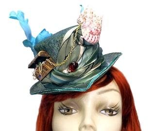 Mermaid Treasure Mini Ariel Riding Top Hat Steampunk Cosplay Fascinator Cocktail Blue Green