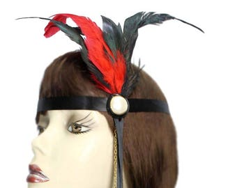 Flapper Headband Scarlet Pearl Red Gatsby Roaring 20's Feathered Showgirl Cosplay