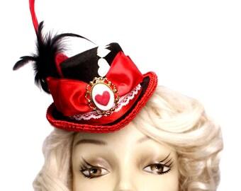 Queen Of Hearts Top Hat Hat Alice Wonderland Mini Fascinator Steampunk Tea Party