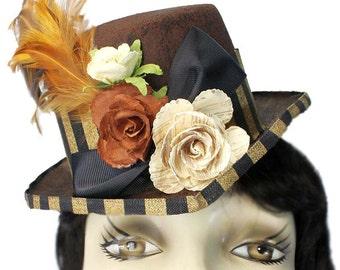 Brown Riding Top Hat Gypsy Garden Steampunk Tea Party Fascinator Cocktail Cosplay