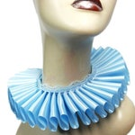 Baby Blue Satin And Lace Elizabethan Neck Ruff Ruffled Collar Victorian Steampunk Tudor