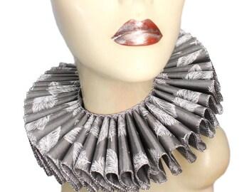 Ruffled Collar Silver Feather Queen Elizabethan Neck Ruff Victorian Steampunk Edwardian Tudor