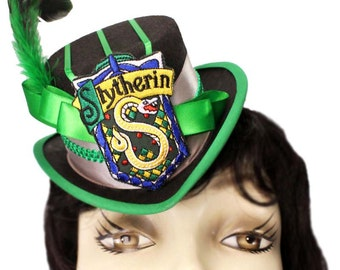 Mini Top Hat Slytherin Harry Potter Inspired Victorian Steampunk Fascinator Cocktail