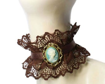 Brown Neck Frill Ruffled Choker Victorian Steampunk Cameo Collar Necklace