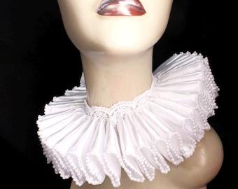 Ruffled Collar White Satin and Pearls Elizabethan Neck Ruff Victorian Steampunk Gothic Edwardian