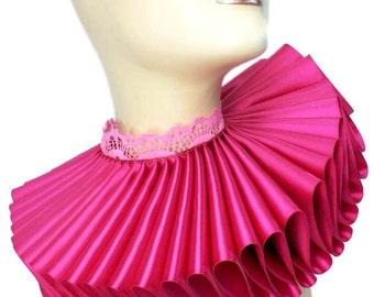 Ruffled Collar Hot Pink Fuschia Satin Tall Wide Elizabethan Neck Ruff Victorian Steampunk Gothic Edwardian