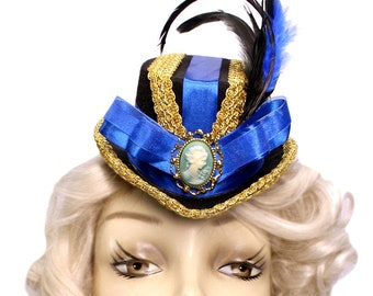 Blue Mini Top Hat Fascinator Royal Cameo Victorian Steampunk Tea Party Cosplay Fancy Dress