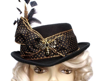 Black Riding Top Hat Veiled Honey Bee Steampunk Tea Party Fascinator Cocktail Cosplay Gold