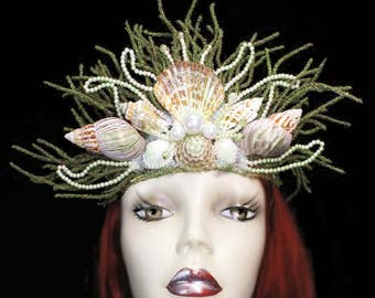 Mermaid Queen Crown Headdress Nautical Ocean Hat Sea Nymph Headpiece Seashell Fancy Dress