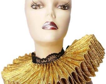 Ruffled Collar Elizabethan Elegance Tall Wide Neck Ruff Victorian Steampunk Edwardian Gold Black