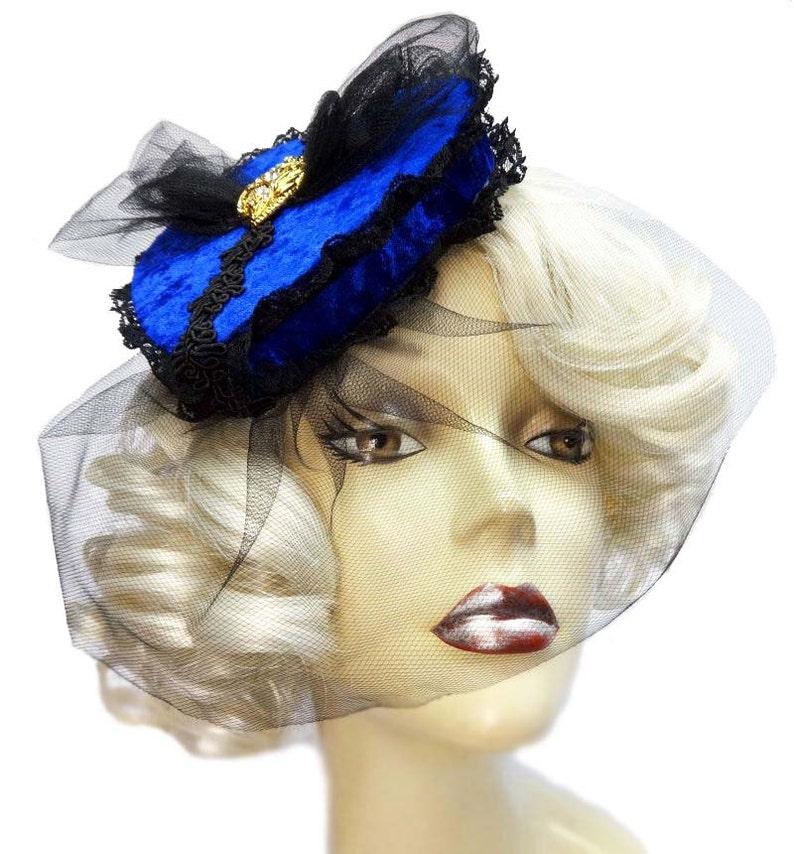 Blue Velvet Veiled Gothic Victorian Heart Pillbox Fascinator image 0