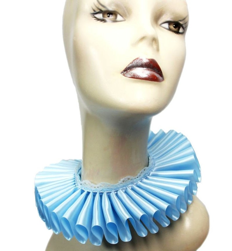 Baby Blue Satin And Lace Elizabethan Neck Ruff Ruffled Collar image 0