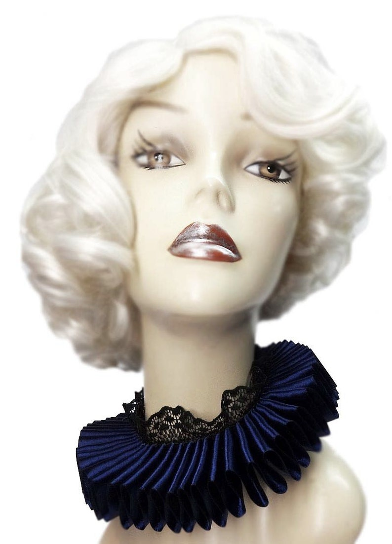 Navy Blue Satin And Lace Elizabethan Neck Ruff Ruffled Collar image 0