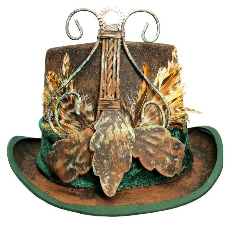 Brown Felt Top Hat Portal Steampunk Traveler Dapper Wedding image 0