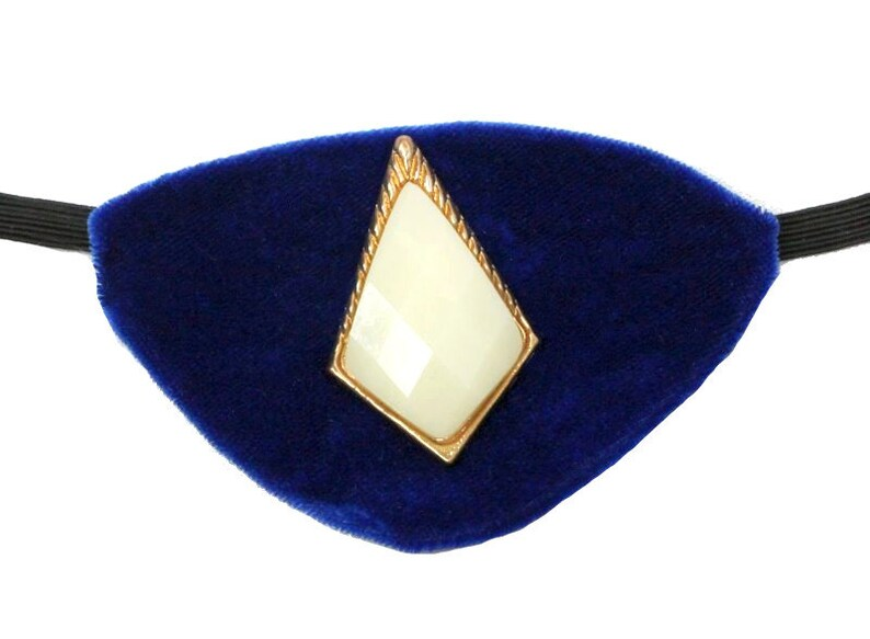 Eye Patch Royal Velvet Deep Blue Jeweled Fashion Pirate image 0