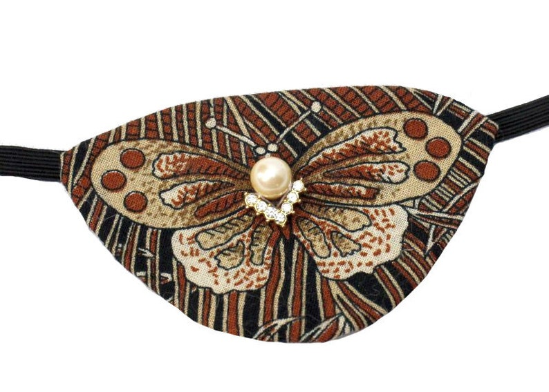 Butterfly Eye Patch Pearl Rhinestone Brown Earth Tone image 0
