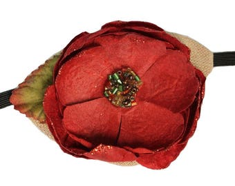 Tan Eye Patch Heirloom Rose Red Victorian Steampunk Pirate Fantasy Fashion Floral