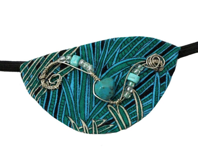 Eye Patch Tropical Turquoise Silver Blue Green Jungle Grass image 0
