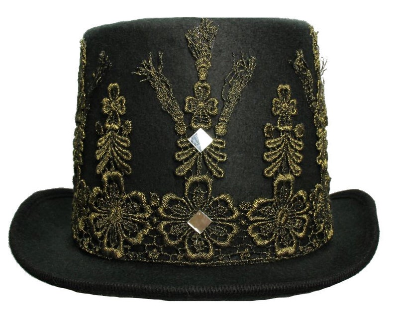 Tall Black Felt Top Hat Glided Age Gothic Steampunk Gold image 0