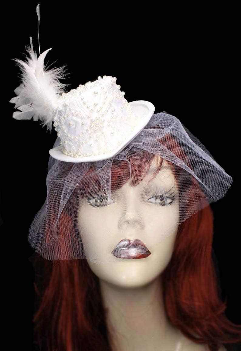 93af0f5042a19 White Pearl Mini Wedding Top Hat Fascinator Veiled Victorian