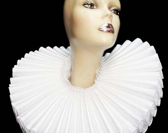 Ruffled Collar White Satin Huge Tall Wide Elizabethan Neck Ruff Victorian Steampunk Gothic Edwardian