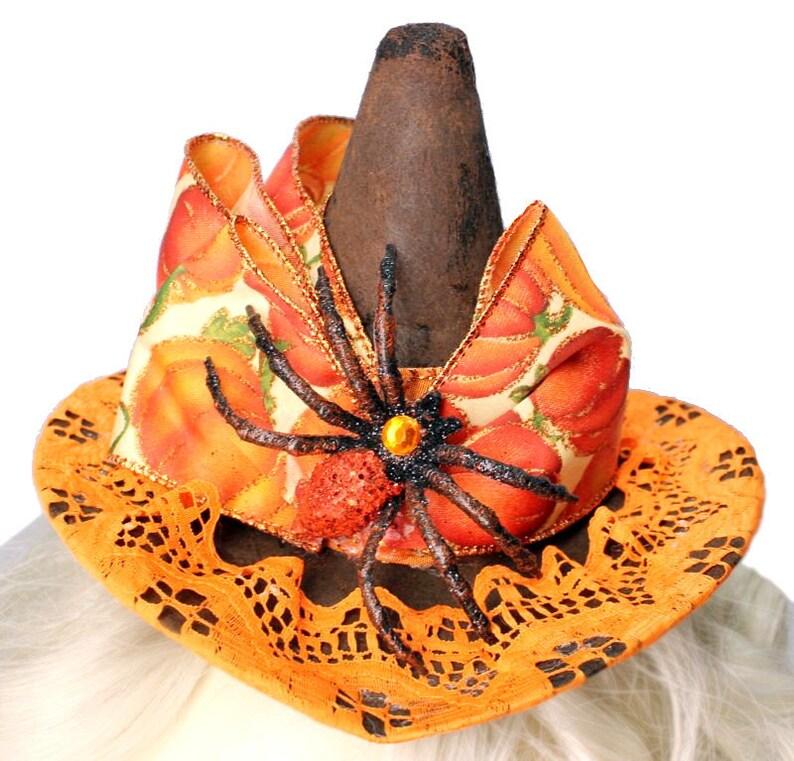 Mini Witch Hat Pumpkin Orange Spider Steampunk Fascinator Gothic Cocktail Cosplay Cute