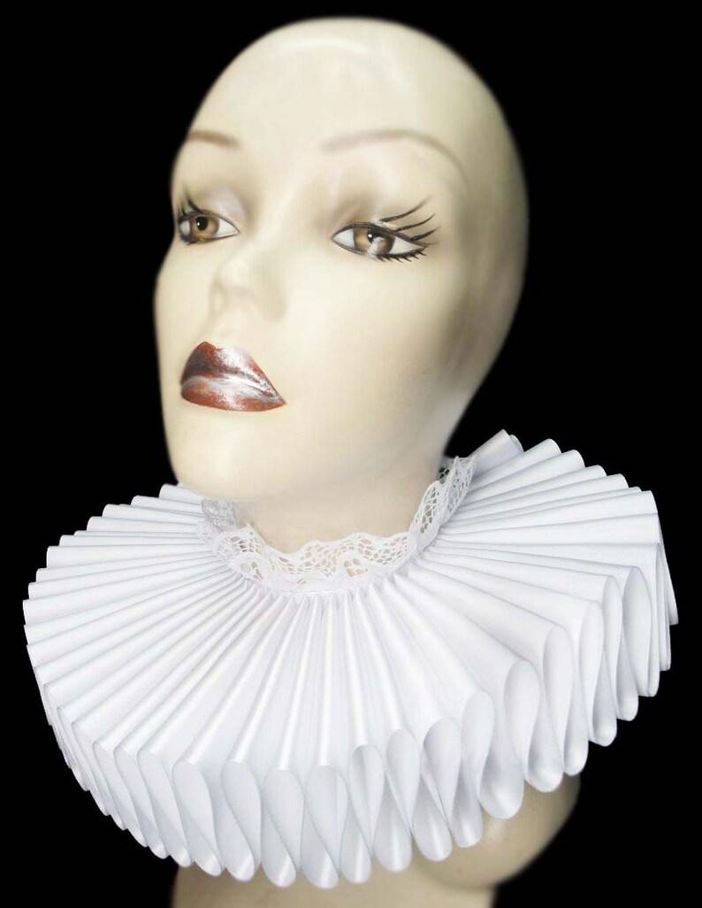 Ruffled Collar White Satin Tall Wide Elizabethan Neck Ruff image 0