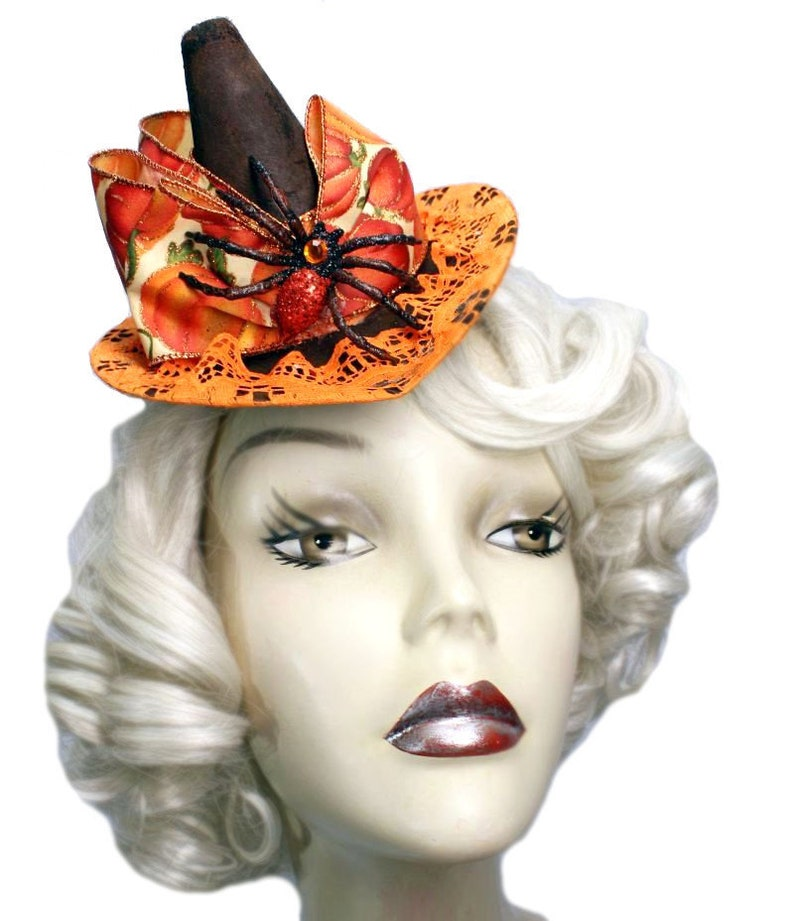 Mini Witch Hat Pumpkin Orange Spider Steampunk Fascinator image 0