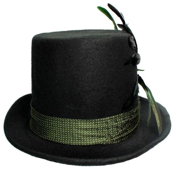 Green Felt Top Hat Mardi Gras Flair Steampunk Traveler Dapper Mens Womens Wild