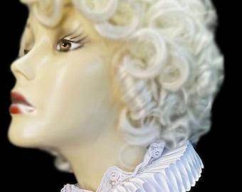 White Neck Ruff Ruffled Collar Elizabethan Victorian Steampunk Tudor Satin And Lace