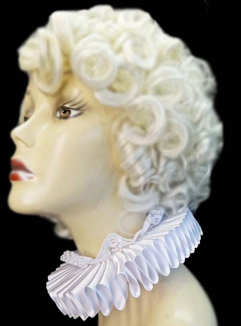 White Neck Ruff Ruffled Collar Elizabethan Victorian Steampunk image 0
