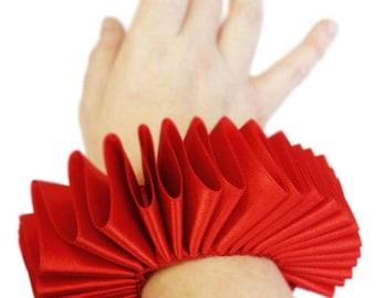 Red Satin Wrist Ruffs Ruffled Arm Bands Elizabethan  Victorian Steampunk