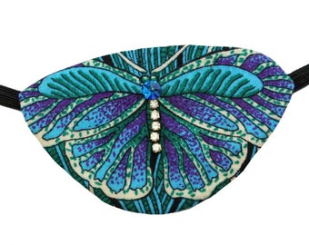 Eye Patch Butterfly Jewel Steampunk Pirate Fashion Fantasy Rhinestone Blue Purple