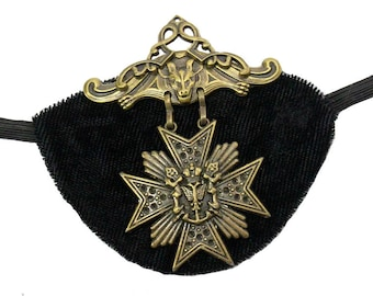 Velvet Eye Patch Gold Medallion Gothic Steampunk Pirate Buccaneer Fantasy Fashion