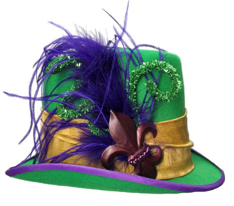 Green Felt Top Hat Mardi Gras Fleur Steampunk Traveler Dapper image 0