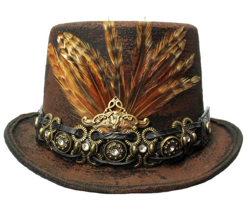 Brown Felt Top Hat Gypsy Coachman Steampunk Topper Cosplay image 0