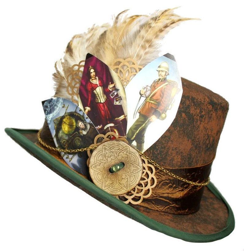 Brown Felt Top Hat Fortune Teller Gypsy Coachman Steampunk image 0