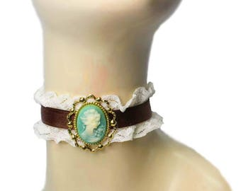 Brown Ivory Neck Frill Ruffled Choker Victorian Steampunk Cameo Collar Necklace