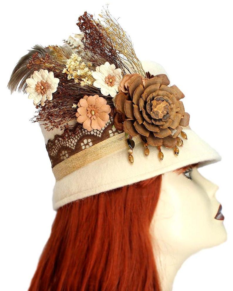 Woodland Cloche Hat Gypsy Garden Steampunk Wool Mohair Ivory image 0