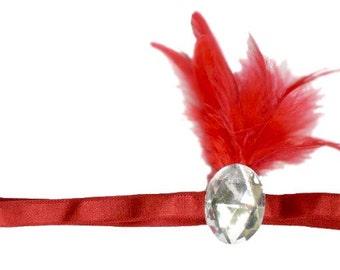 Red Flapper Headband Silver Jewel Roaring 20's Gatsby Showgirl Feather Fascinator