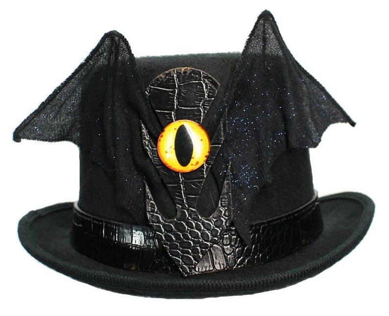 62cdaee685ccd Black Wool Top Hat Batty Gothic Steampunk Topper Womens Mens