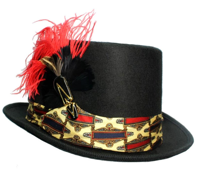 Black Wool Top Hat Royal Flair Steampunk Topper Womens Mens image 0