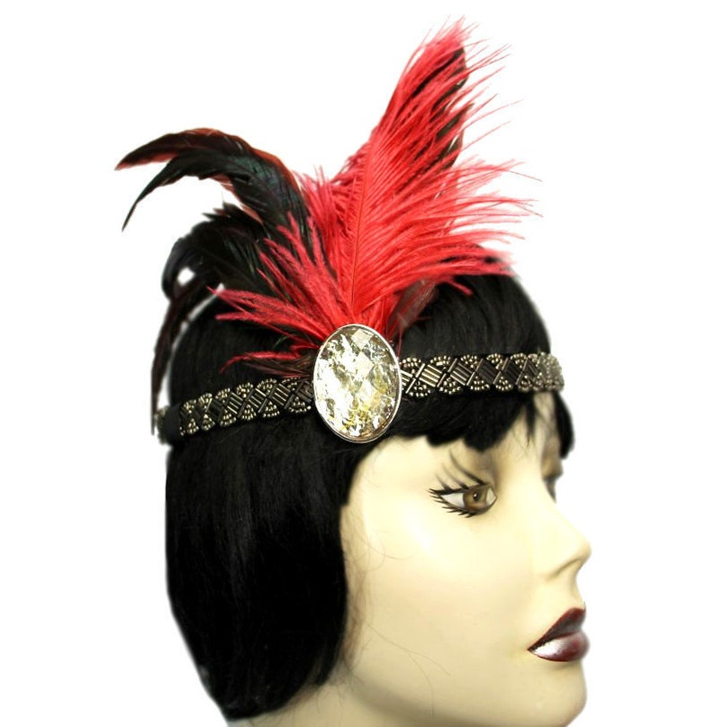 Flapper Headband Scarlet Moon Jeweled Black Red Roaring image 0