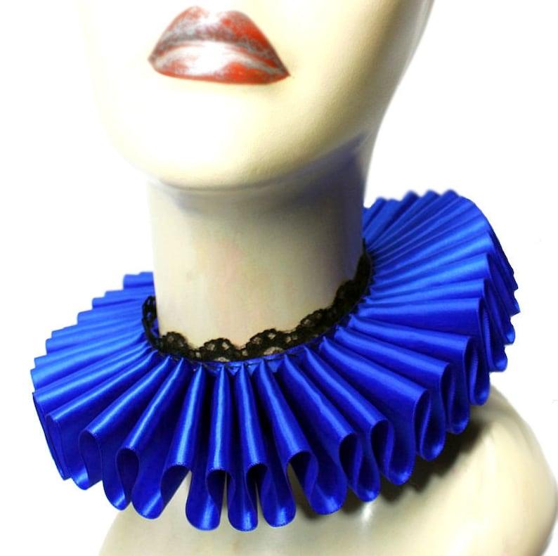 Royal Blue Satin And Lace Elizabethan Neck Ruff Ruffled Collar image 0