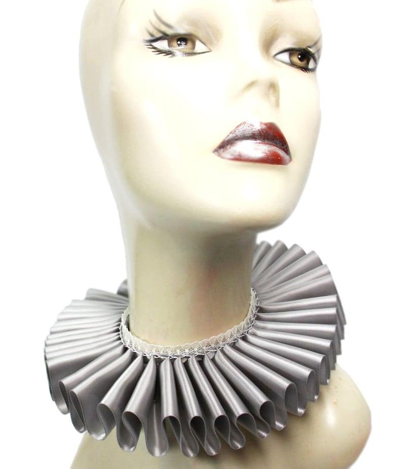 Ruffled Collar Silver Satin Lace Gray Elizabethan Neck Ruff image 0