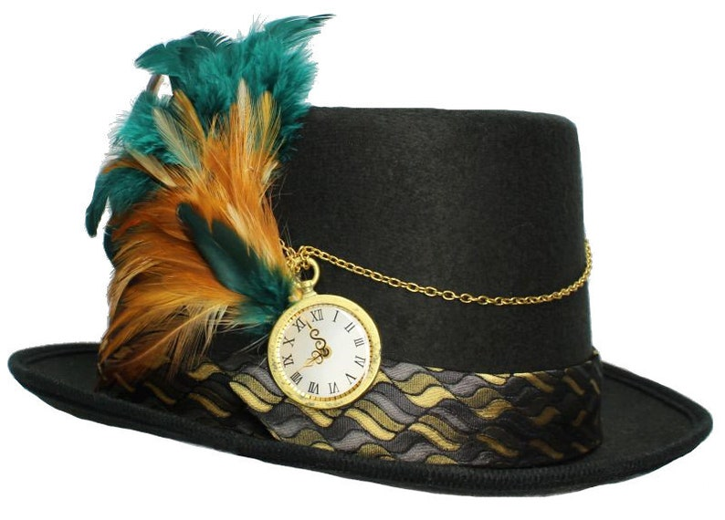 Black Felt Top Hat Off The Clock Steampunk Topper Womens Mens image 0