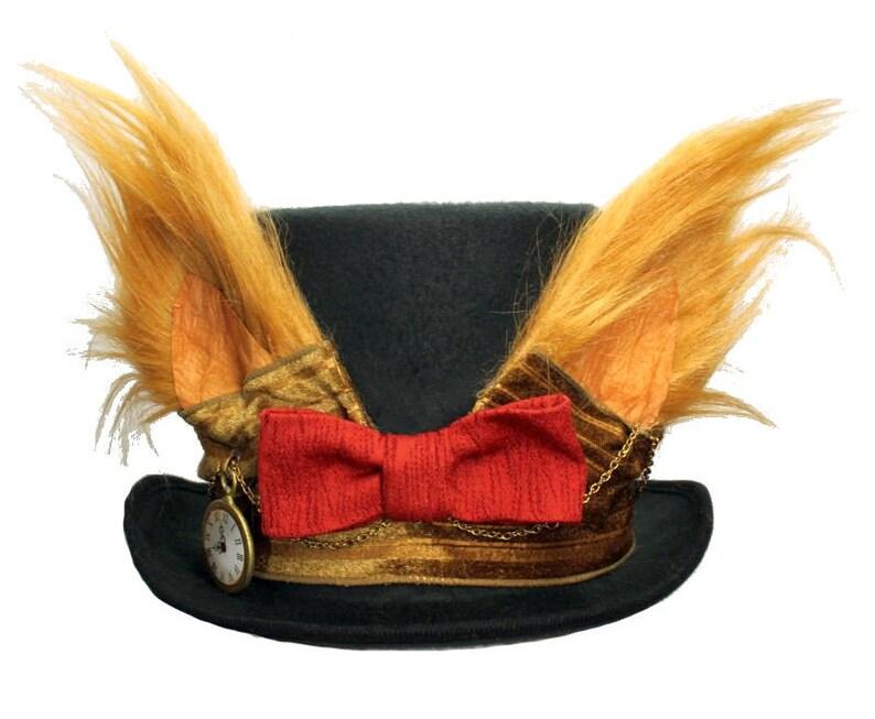 Tall Black Felt Top Hat Fantastic Mr Fox Ears Steampunk Topper image 0