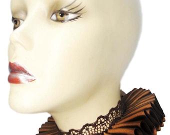 Brown Ruffled Collar Elizabethan Neck Ruff Victorian Steampunk Tudor Satin Lace