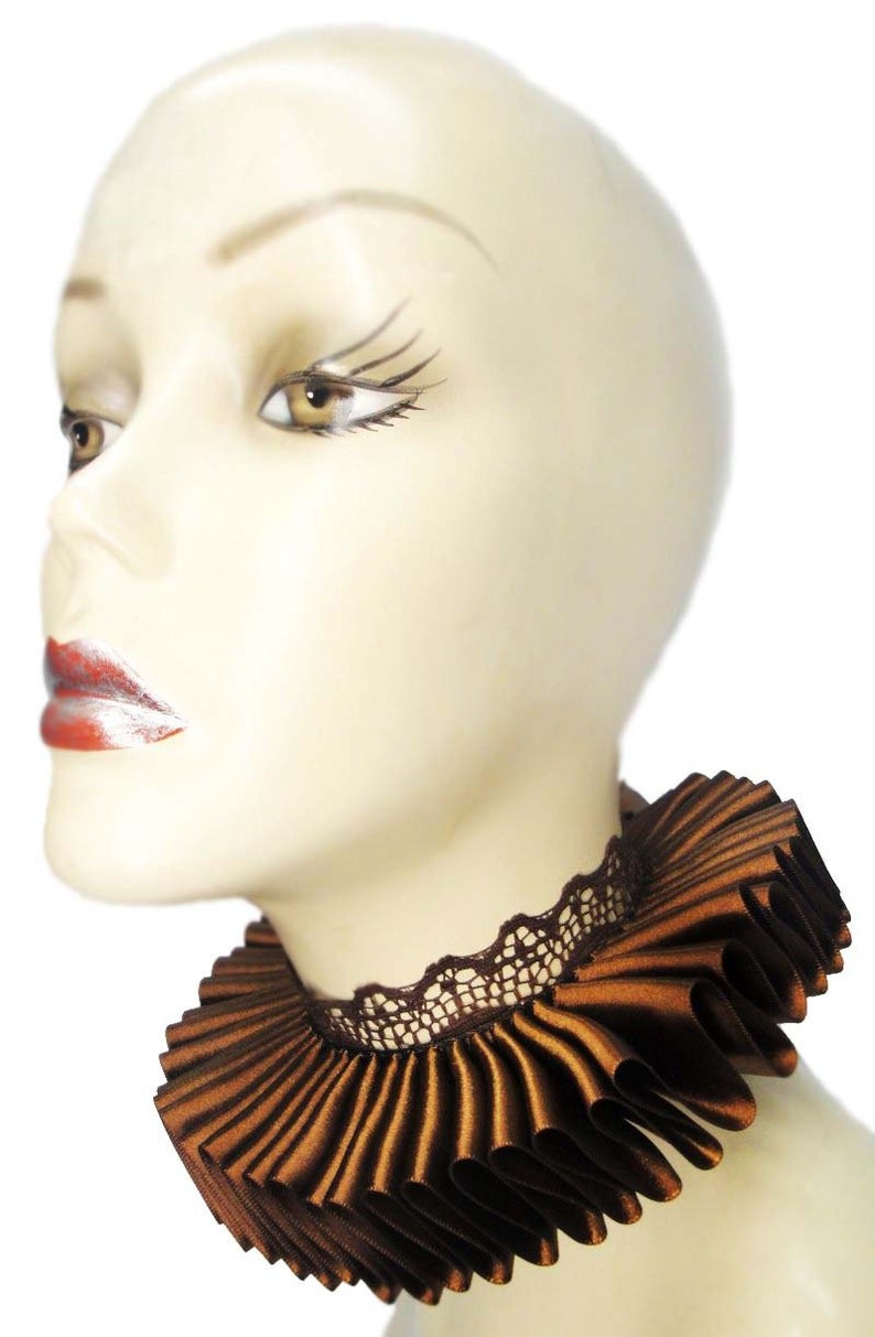 Brown Ruffled Collar Elizabethan Neck Ruff Victorian Steampunk image 0