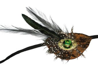 Eye Patch Exotic Jewel Feathered Fashion Fantasy Pirate Steampunk Green Gold Bronze